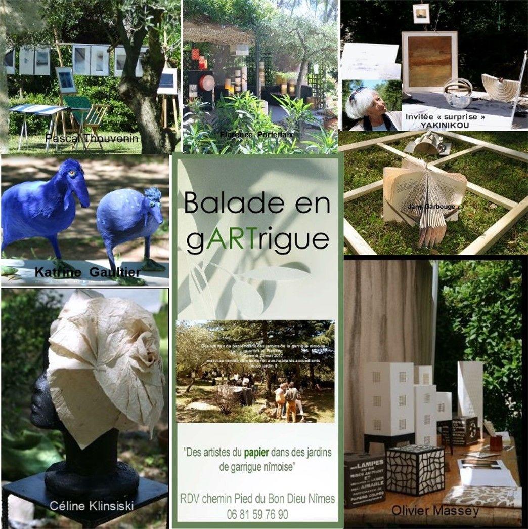 """participation,  en tant """"qu'invitée surprise"""" suite à mon arrivée dans le Gard , à """"Balade en gARTrigue"""" 2017 .. des artistes du papier dans  les jardins de la garrigue nimoise"""